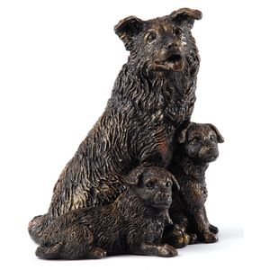 Langholm Design Collie & Pups Bronzed Figurine