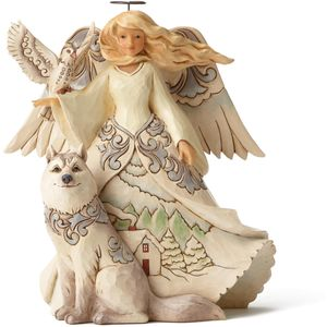 Heartwood Creek White Woodland Figurine Angel & Wolf