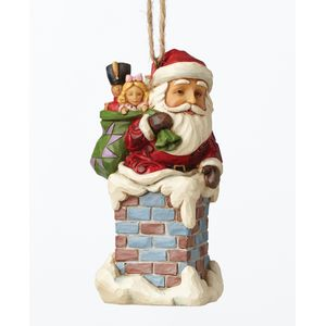 Heartwood Creek Hanging Ornament Santa in Chimney