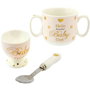 Mad Dots Mug Egg Cup & Spoon Set - Baby Girl