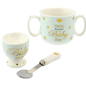 Mad Dots Mug Egg Cup & Spoon Set Baby Boy