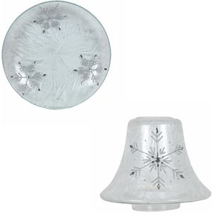 Aroma Jar Candle Shade & Plate Set: Frosted Snowflake