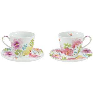 Watercolours by Dora Papis Porcelain Cups & Saucers Set of 2