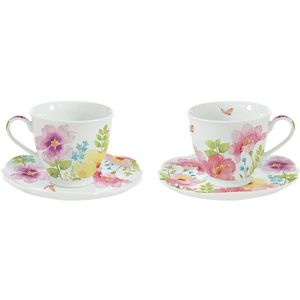 Watercolours Set of 2 Porcelain Cups & Saucers