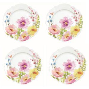 Watercolours by Dora Papis Porcelain Dessert Plates - Set of 4