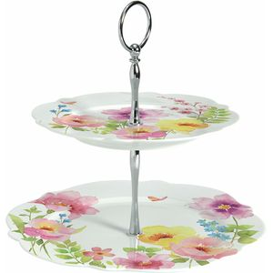 Watercolours Porcelain 2 Tier Cake Stand