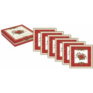 Red Robins Set of 6 Festive Coasters
