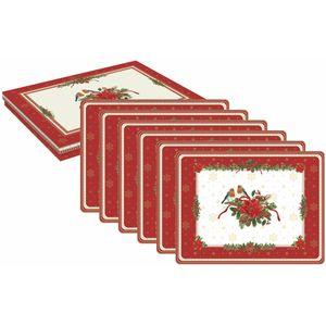 Christmas Tableware - Table Mats Festive Red Robins Set of 6