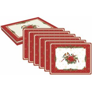 Red Robins Set of 6 Festive Table Mats