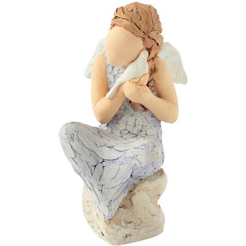 Arora Design Angel sitting on rock holding dove More Than Words Figurine