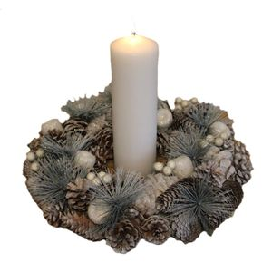 Christmas Tableware - Table Decoration Frosted Pine Cones Wreath & White Candle