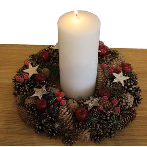 Pine Cones & Stars Wreath with Candle Table Centre Piece