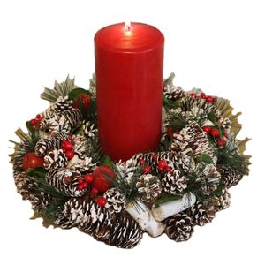 Christmas Tableware - Table Decoration Frosted Pine Cone Wreath & Red Candle
