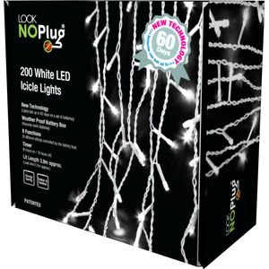 200 White LED Multi Function Icicle Lights (No Plug)