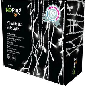 Christmas Lights - Icicle Lights 200 LED Multi Function No Plug (White)
