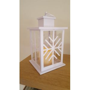 Snowflake Lantern with flickering candle