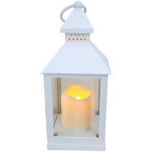 Lantern with Battery Operated Candle - White