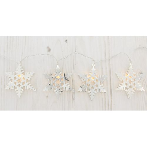 10 LED Battery Operated Snowflake Lights