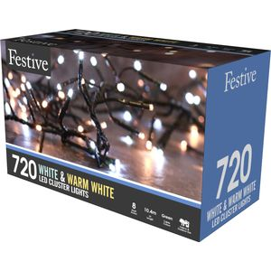 720 LED Multi Function Cluster Lights - White & Warm White