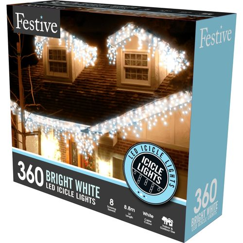 360 Bright White LED Snowing Icicle Lights