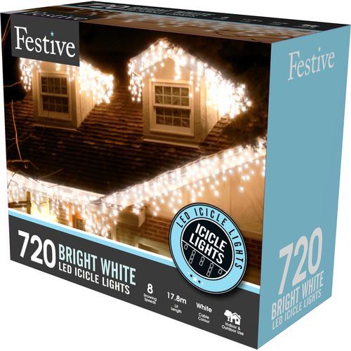 720 Bright White LED Snowing Icicle Lights