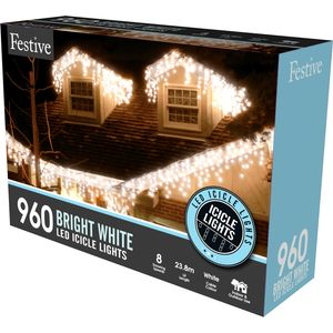 960 Bright White LED Snowing Icicle Lights