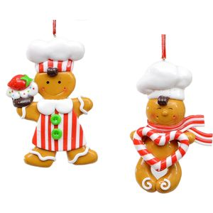 Set of 2 Gingerbread Men Christmas Tree Decorations