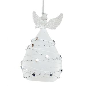 Light Up Glass Angel Ornament / Tree Decoration