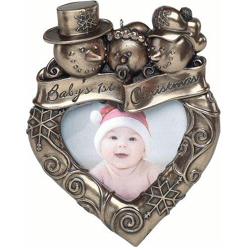 Genesis Baby`s 1st Christmas Photo Frame Bronze Hanging Decoration KK041