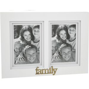 "Gallery White Double Photo Frame 4x6"" - Family"