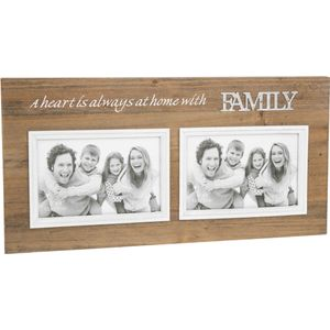 Family Double Photo Frame with sentiment phrase