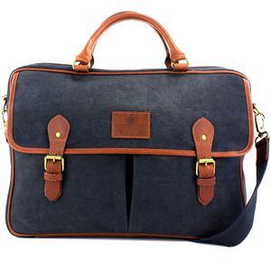 British Bag Company Navigator Waxed Canvas Briefcase - Navy