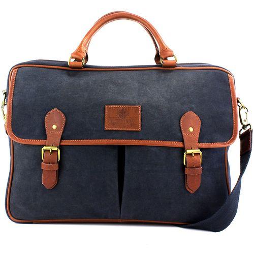 Waxed Canvas Briefcase: British Bag Company The Navigator Collection (Navy)