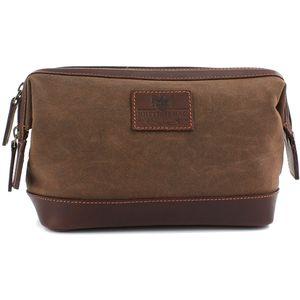 Waxed Canvas Wash Bag The Navigator (Brown)