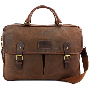 Waxed Canvas Briefcase: The Navigator (Brown)