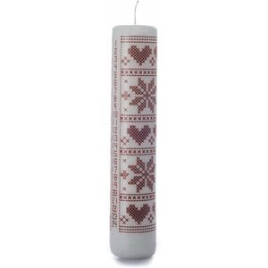 White Advent Candle with red poinsettia & heart design