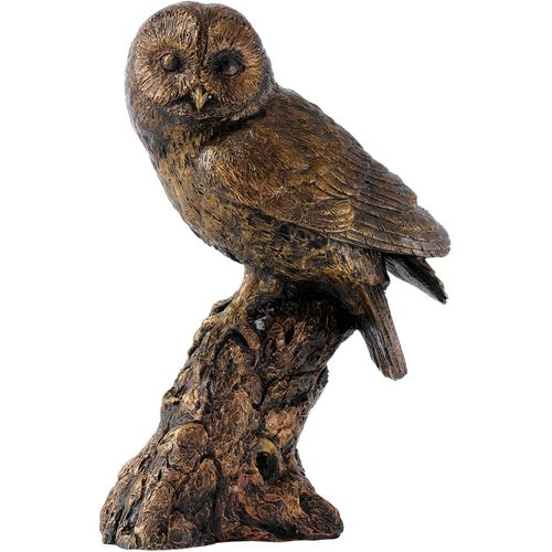 Border Fine Arts Studio Bronze owl sitting on branch figurine