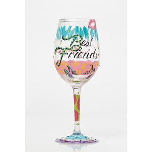 Lolita Hand Painted Wine Glass - Best Friends Always