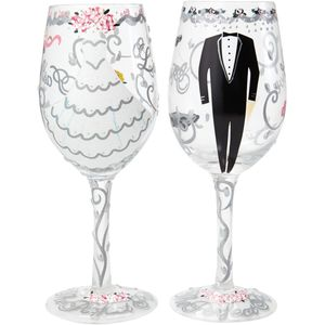 Lolita Hand Painted Wine Glasses Gift Set - Wedding Bride & Groom