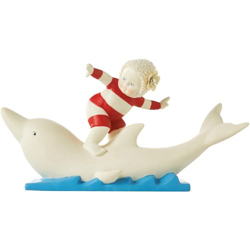Beach Baby surfing on a Dolphin Ornament