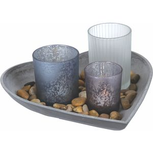 Tea Light Candle Holder Gift Set with Heart Shaped Tray