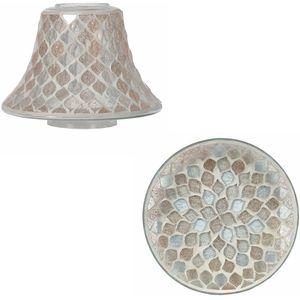 Aroma Jar Candle Shade & Plate Set: Glitter Teardrop Mosaic