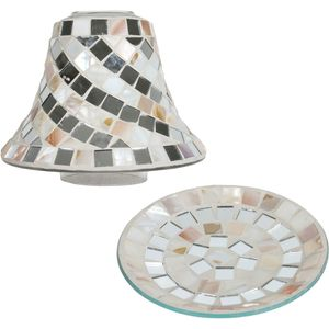 Aromatize Jar Candle Shade & Plate Set: Mother of Pearl