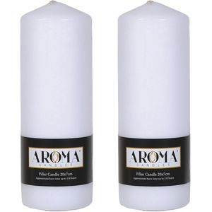 Aroma Pillar Candles 20cm x 7cm Pack of 2 - White