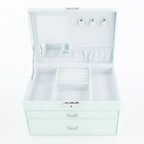 Mele & Co Bonded Leather Jewellery Box  - Countess Pastel Green