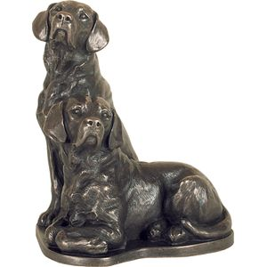 Pair of Labradors Bronze Figurine
