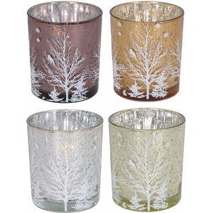 Winter Tree design tealight holder (Set 4 Assorted)