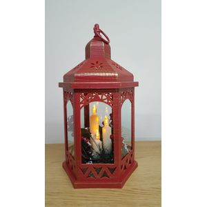 Christmas Lantern with LED Candles - Red