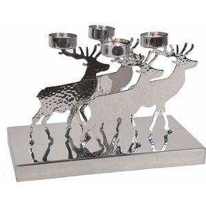 Christmas Tea Light Candle Holder - Silver Metallic Reindeers