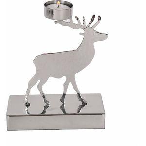 ChristmasTea Light Candle Holder - Metallic Silver Reindeer
